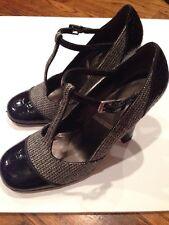 "Tahari Black Patent Leather and Tweed ""Katrina"" T Strap High Heel Shoes Sz 7.5M"