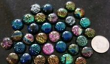 Dichroic glass cabochon 12mm diameter x 5mm thick 1 multicolored cabochon gbs053