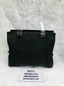 PRADA CAMOU Green Nylon Clear Handles Small Tote Hand Bag
