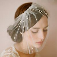 Bridal wedding vintage white romantic short soft veil  with pearl 1combs