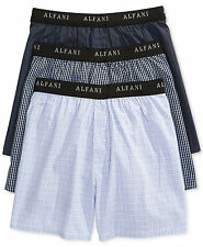 $55 ALFANI UNDERWEAR MEN BLUE BLACK CLASSIC 3-PACK WOVEN BOXER SHORTS SIZE XL