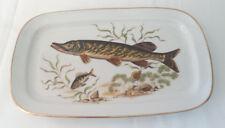 Melitta Fischplatte Servierplatte Porzellan Hecht Goldrand 36x22 cm Retro