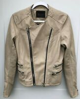 Blank NYC Women's Small Beige Moto Jacket Lined Full Zip Faux Leather tiny flaw