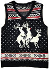 Mens Skedouche Ugly Christmas Sweater Vest Rudolph Sandwich Reindeer Threesome M