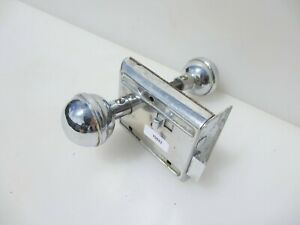 Antique Chromed Iron Bathroom Door Lock Knobs Handles Vintage Old Bolt Art Deco