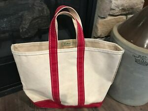 VINTAGE LL BEAN BOAT AND TOTE BAG WHITE WITH RED TRIM FREEPORT USA
