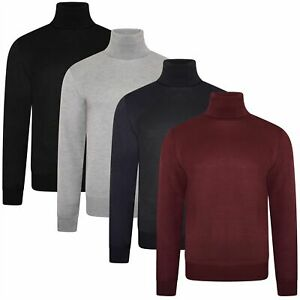 Soul Star Mens Roll Turtle Polo Funnel Neck Jumper Knitted Winter Pullover
