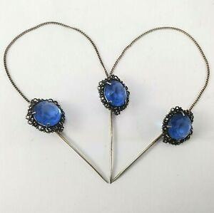 Vintage/Antique Triple Hat/ Stick Pins Blue Glass Faux Round Cut Gems