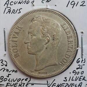 1912 Venezuela 5 Bolivares Gram 25 Silver Coins