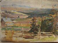 Russian Soviet Oil Painting realism impressionism Landscape hut 1950s y.