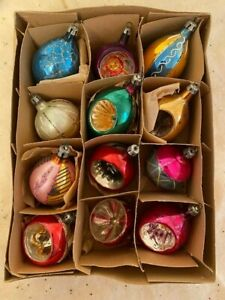 VINTAGE 40's-50's Polish Christmas Indent Ornaments with Box- 12 Ornaments!