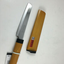 Kotobuki Japanese Kitchen Cheese Knife Brown Wood Handle Cover Made in Japan