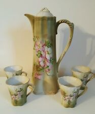 Hand painted porcelain chocolate pot 4 cups green  pink flowers marked nippon