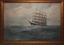 1925 NAUTICAL 29 X 20 PRINT 25.5 X 17 JOHANNES HOLST SAILBOAT SAILING SHIP BOAT