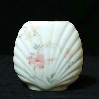 Vintage Vase Fine China White With Pink Floral Design Gold Rim Japan Preowned