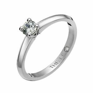LEO Diamond 0.25 Carat Ernest Jones 18 Carat White Gold Box & Certificate Size L