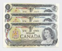 3 x Sequential 1973 $1 Bank of Canada Notes AU/UNC