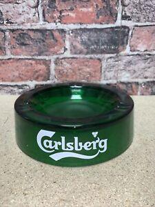 Vintage Collectible Green Glass Carlsberg Ashtray