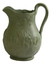 """COPELAND - Relief Moulded DRABWARE Jug WATERLILLIES - 8 1/2"""" Tall - GREEN - 1851"""