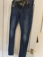 Used Mens Superdry Blue Jeans Waist 32 Length 32 Super Skinny Fit