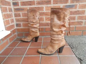 BERTIE Tan Ruched Leather Cowboy Boots * sz 6 uk * PULL ON