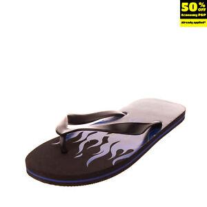 DIESEL SA-NIHHAO Flip-Flop Sandals Size 43 UK 9 US 10 Rubber Printed Flames