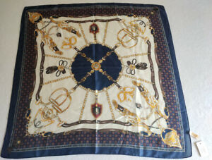 Luxury Square Silk Scarf,  Horse Sandal and Belt Patterned,  70cm x 70cm