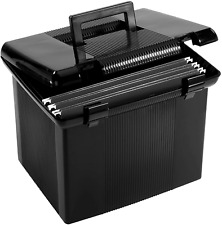 Pendaflex Portable File Box With File Rails Hinged Lid With Double Latch Closur