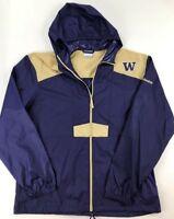 Columbia UW Univeristy WA Huskies Purple Windbreaker Packable Hooded Jacket Sz L