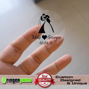 1000pcs Custom Clear Stickers 40mm adhesive wedding transparent label invitation