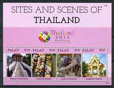 Palau 2013 MNH Sites & Scenes Thailand 4v M/S Elephants Temples Markets Stamps