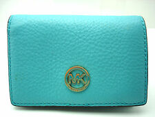 Authentic New Michael Kors Medium Pebbled Leather wallet Turquois Aqua Blue