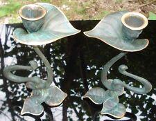 -Paire de Bougeoirs en Bronze Art Nouveau Candleholders Jugendstil