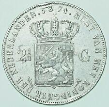 More details for netherlands, willem iii, 2½ gulden, 1874 silver coin aef