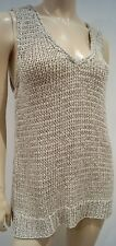 EILEEN FISHER Beige Chunky Knitwear V Neck Sleeveless Long Length Tank Vest Top