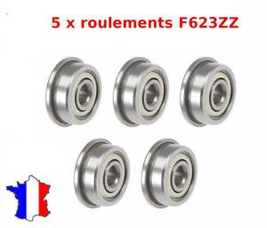 5 x F623zz roulement à billes avec épaulement 3 x 10 x 4 mm Flange Bearing F 623