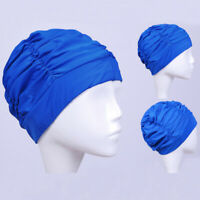 Women Long Hair Swimming Pleated Turban Hat Swim Pool Bathing Ear Protector GO9