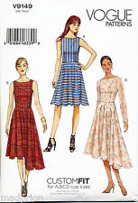 VOGUE SEWING PATTERN 9149 MISSES SZ 6-14 CUSTOM FIT, LINED FIT & FLARE DRESSES