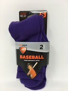 Sofsole Kids Youth Team Baseball Performance Socks 2 Pair Purple Fits 13c-4Y