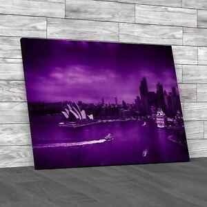 Sydney Harbour Skyline Purple Canvas Print Large Picture Wall Art