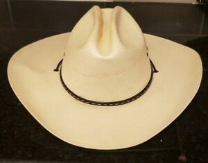George Strait Resistol Self Conforming Straw Hat 7 1/2 stained