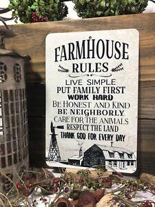 Farmhouse Rules Sign - Farm Sign -  Home Decor Farmhouse Decor 12x8 Metal Sign
