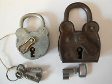 Lot of 2 French Vintage PADLOCKS brandmarked - Mickey mouse head shaped