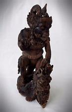 Antique/Vintage Carved Hardwood Chinese Sun Wukong Monkey God Figure