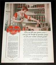 1921 OLD MAGAZINE PRINT AD, DEL MONTE BRAND QUALITY FOOD, FILL YOUR PANTRY, ART!