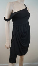 PREEN BY THORNTON BREGAZZI Collection Black Sleeveless Pleated Evening Dress SzL