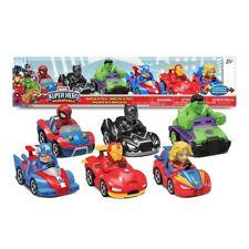 Marvel Super Hero Adventures Pullback Vehicle Set 6 Pack Spiderman Hulk Ironman