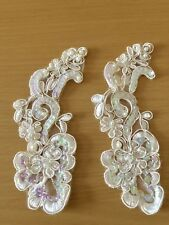 Ivory Bridal Beaded Sequin Embroidered Applique 2 Pieces Wedding Buy 3 Get 1Free
