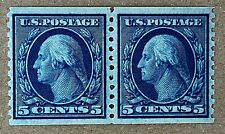 US Stamps, Scott #496 5c Vertical coil pair 1919 XF NH. Rich color & fresh.