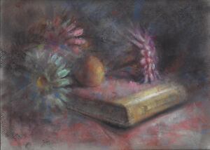 FLOWER BOOK Still Life Study 9x12 Drawing Pastel Impressionist Realism Painting
